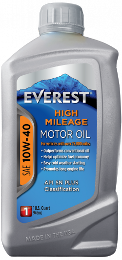 Everest High Mileage SAE 10W-40 Synthetic Blend Motor Oil